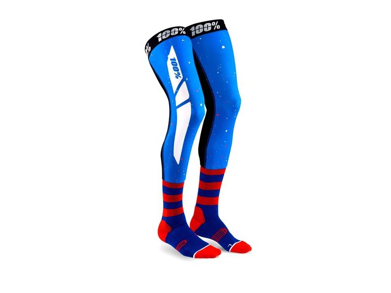 100% REV Knee Brace Performance Moto Socks Blue / Red click to zoom image
