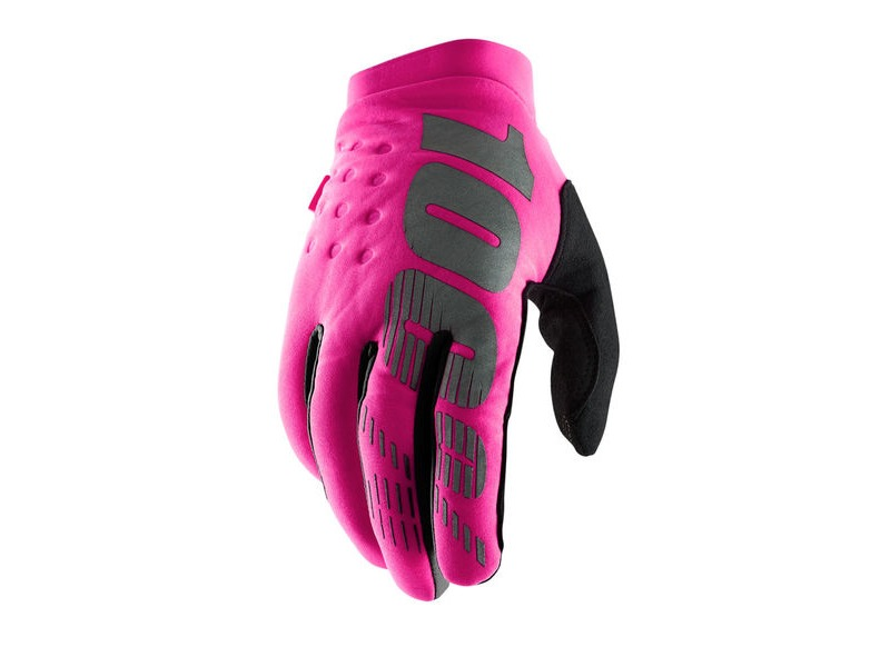 100% Brisker Women's Cold Weather Glove Neon Pink / Black click to zoom image