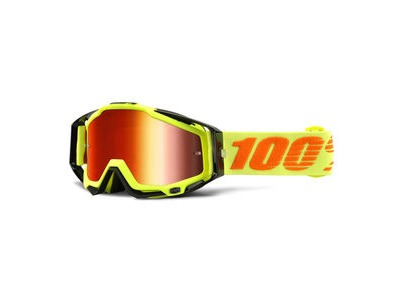100% Racecraft Goggles Attack Yellow / Red Mirror Lens