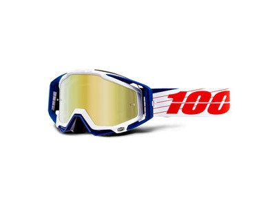100% Racecraft Goggles Bibal White / Gold Mirror Lens