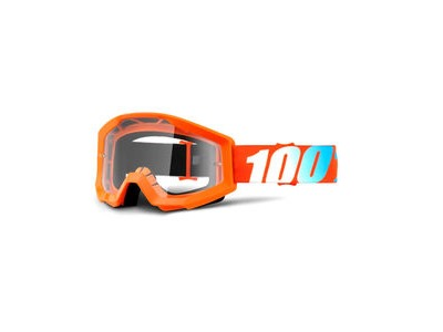 100% Strata Goggles Orange / Clear Lens