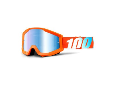 100% Strata Goggles Orange / Blue Mirror Lens