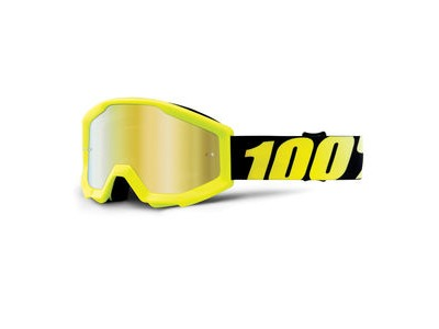 100% Strata Junior Goggles Neon Yellow / Gold Mirror Lens