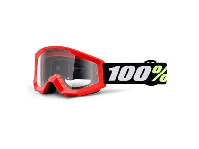 100% Strata Mini Goggles Red / Clear Lens
