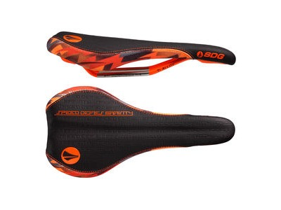 SDG Fly Mtn Ti-Alloy Rail Saddle Black/Orange Camo